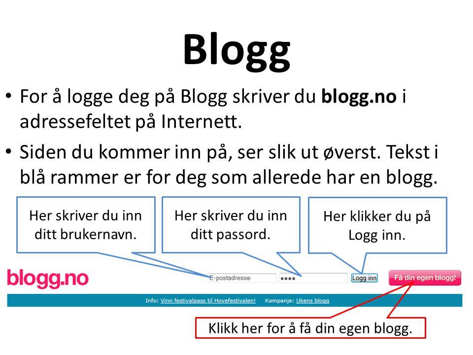 Blogg For å logge deg på Blogg skriver du blogg.no i adressefeltet på Internett.