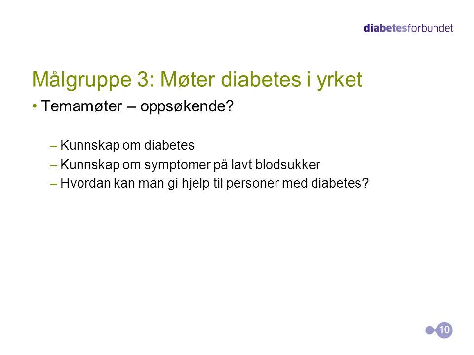 Målgruppe 3: Møter diabetes i yrket
