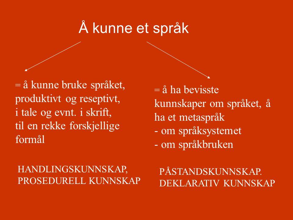 Å kunne et språk = å kunne bruke språket, produktivt og reseptivt, i tale og evnt. i skrift, til en rekke forskjellige formål.