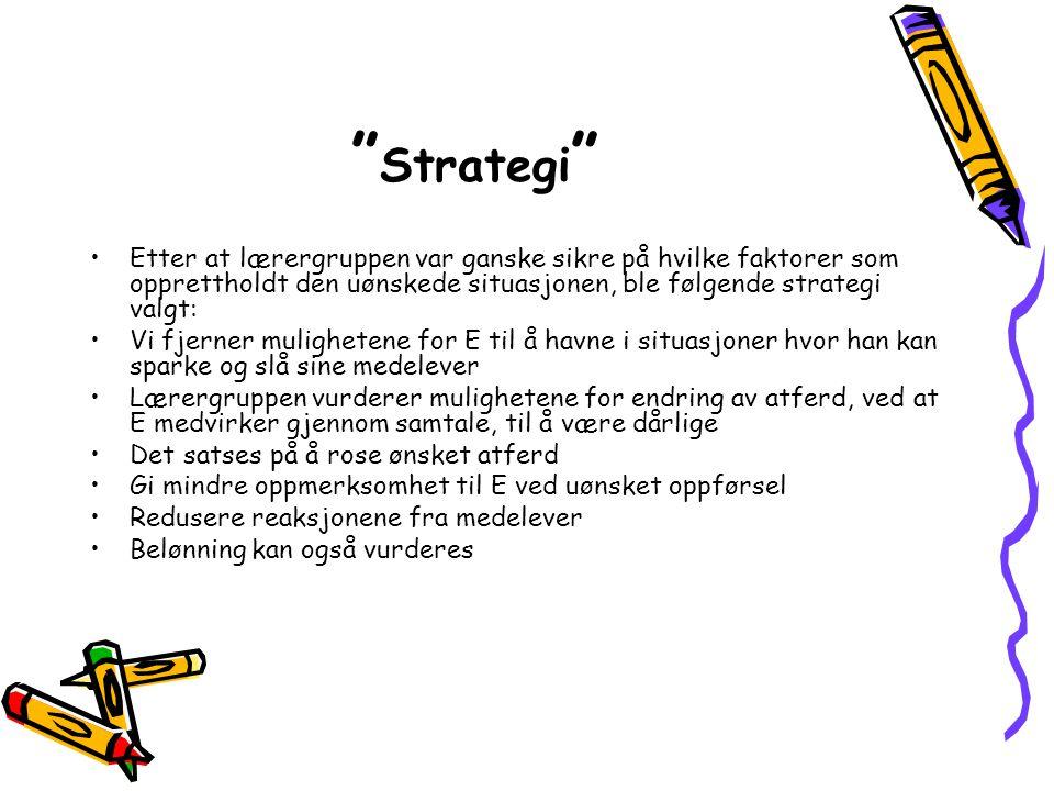 Strategi Etter at lærergruppen var ganske sikre på hvilke faktorer som opprettholdt den uønskede situasjonen, ble følgende strategi valgt: