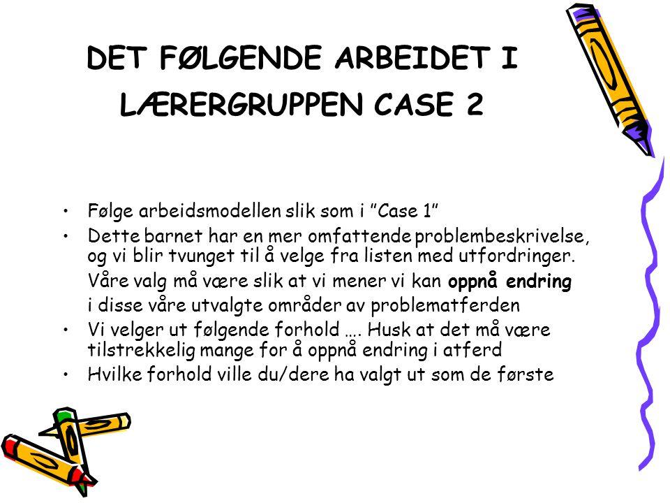 DET FØLGENDE ARBEIDET I LÆRERGRUPPEN CASE 2