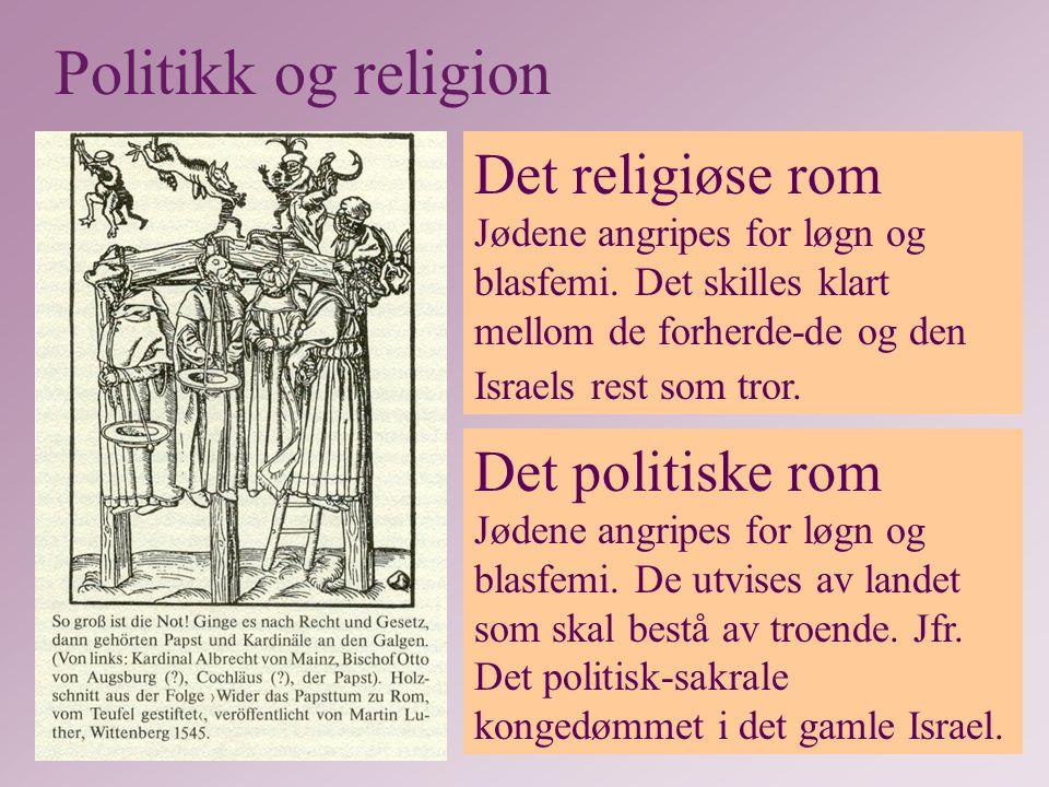 Politikk og religion Det religiøse rom Jødene angripes for løgn og blasfemi. Det skilles klart mellom de forherde-de og den Israels rest som tror.
