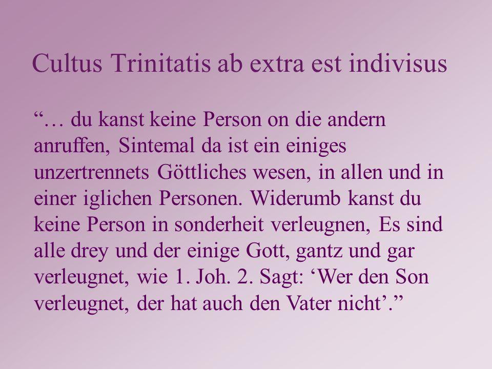 Cultus Trinitatis ab extra est indivisus