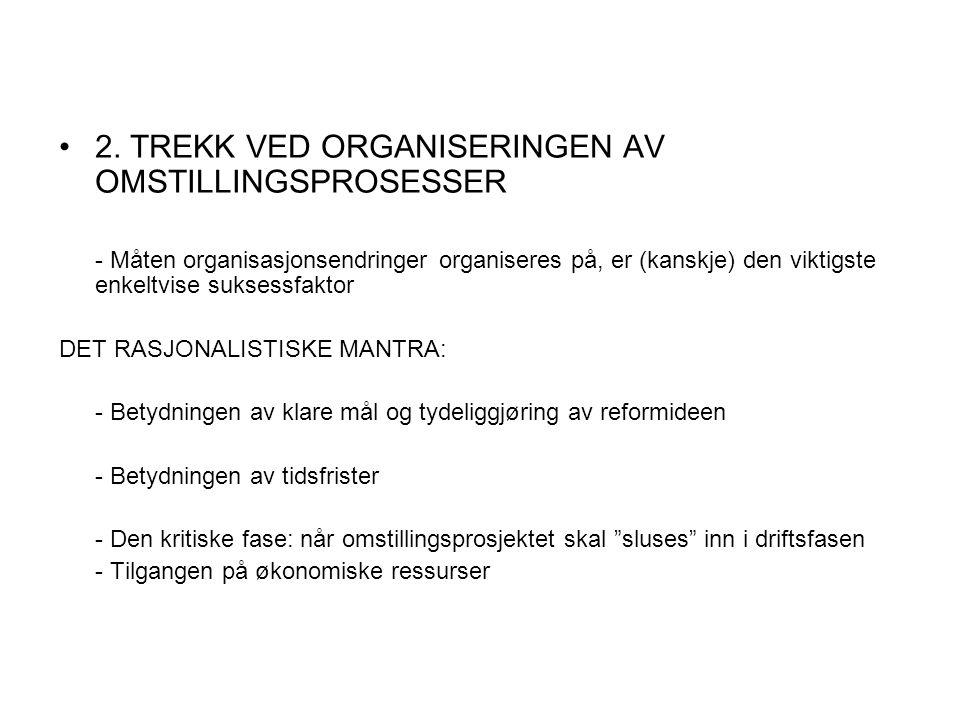 2. TREKK VED ORGANISERINGEN AV OMSTILLINGSPROSESSER