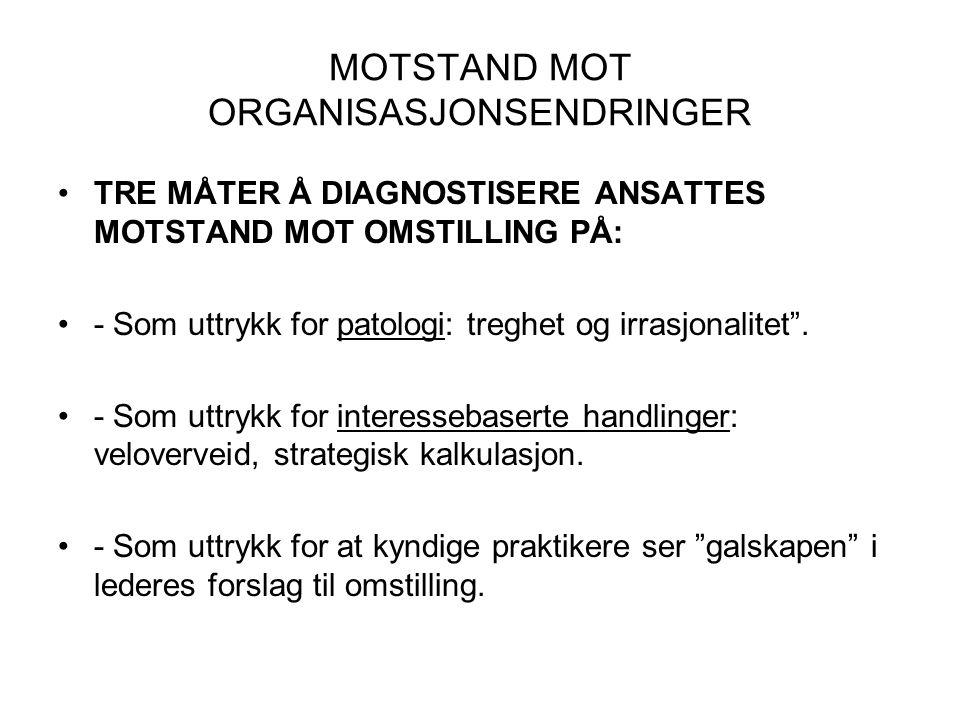 MOTSTAND MOT ORGANISASJONSENDRINGER
