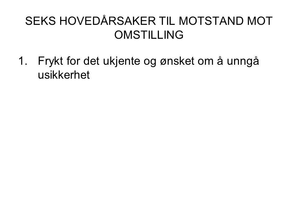 SEKS HOVEDÅRSAKER TIL MOTSTAND MOT OMSTILLING