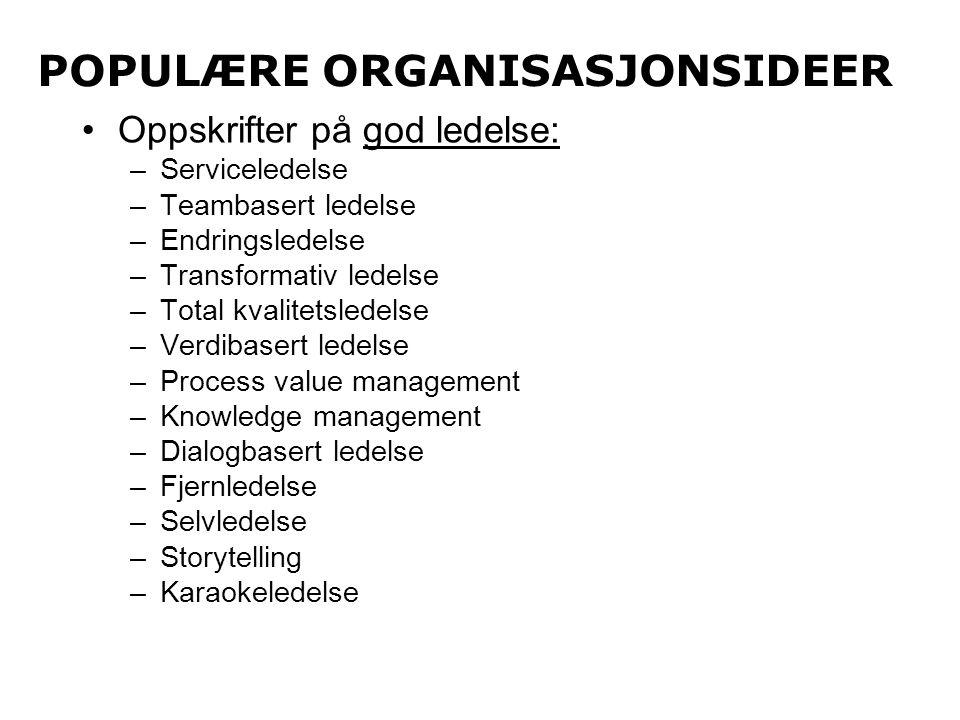 POPULÆRE ORGANISASJONSIDEER