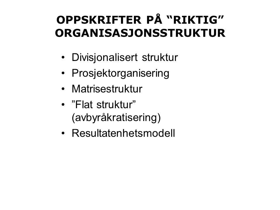 OPPSKRIFTER PÅ RIKTIG ORGANISASJONSSTRUKTUR