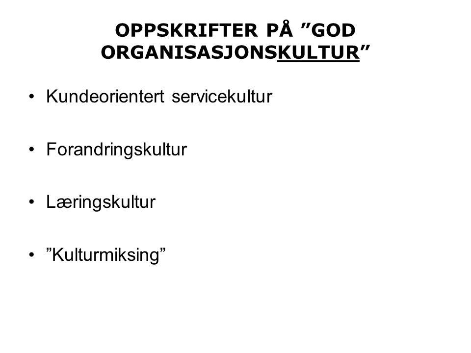 OPPSKRIFTER PÅ GOD ORGANISASJONSKULTUR