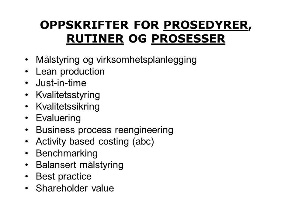 OPPSKRIFTER FOR PROSEDYRER, RUTINER OG PROSESSER