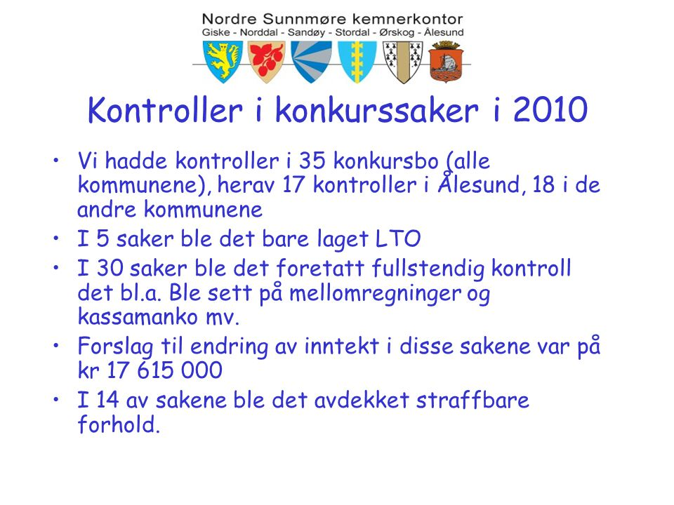 Kontroller i konkurssaker i 2010