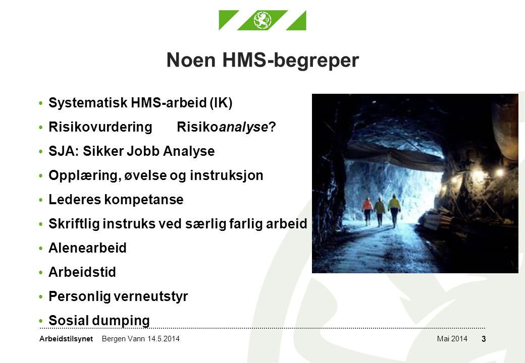 Noen HMS-begreper Systematisk HMS-arbeid (IK)