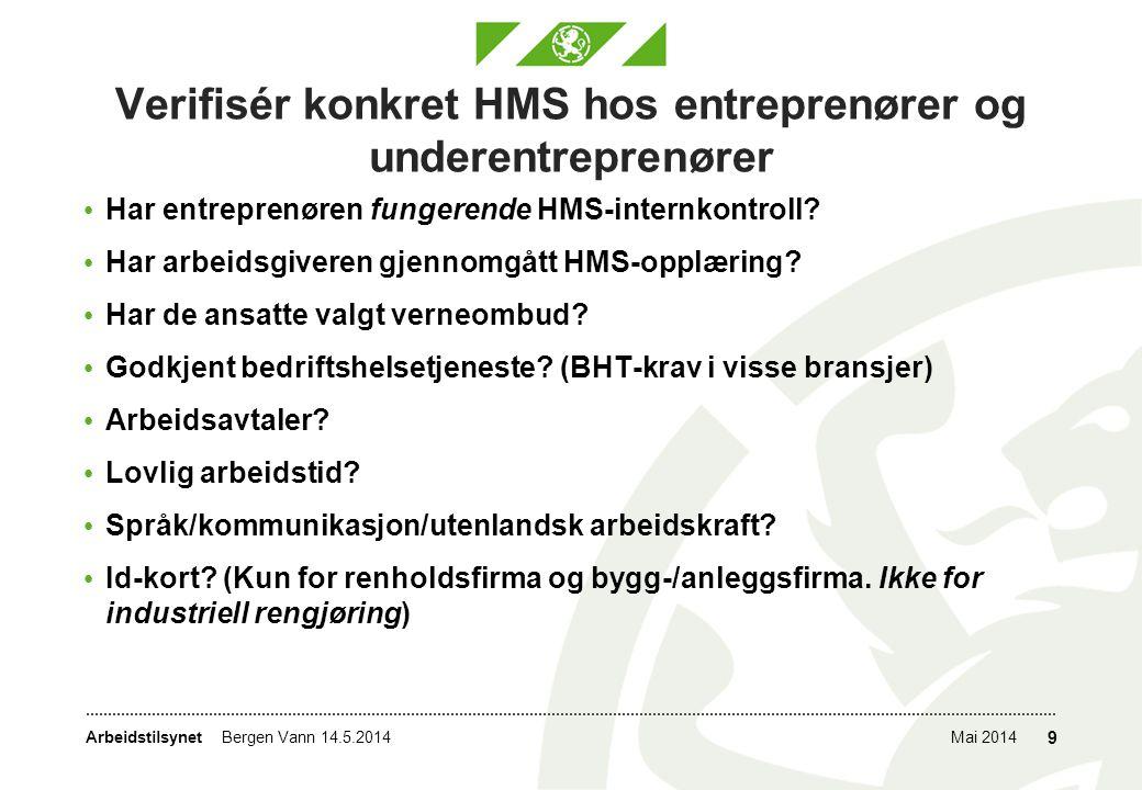 Verifisér konkret HMS hos entreprenører og underentreprenører