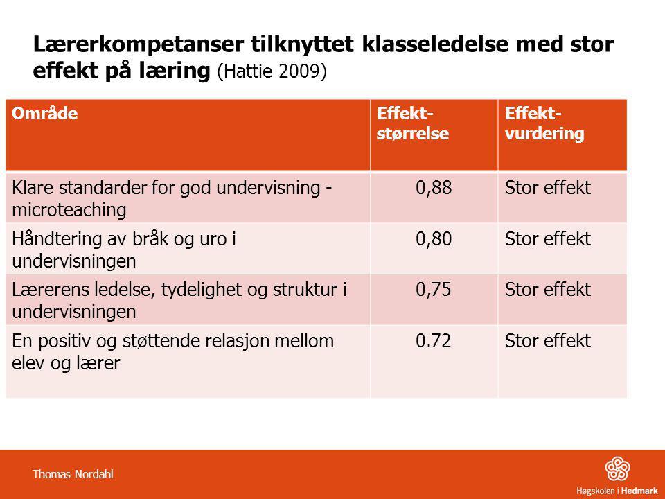 Lærerkompetanser tilknyttet klasseledelse med stor effekt på læring (Hattie 2009)