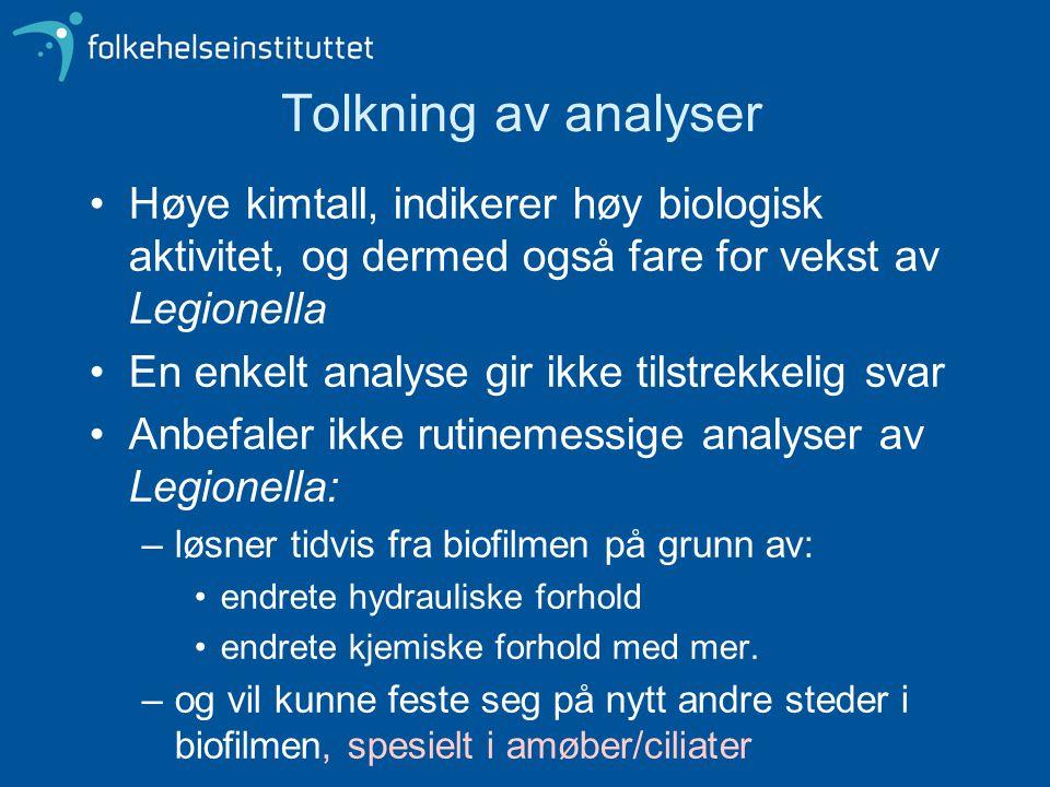 Tolkning av analyser Høye kimtall, indikerer høy biologisk aktivitet, og dermed også fare for vekst av Legionella.