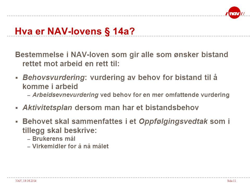 Hva er NAV-lovens § 14a Bestemmelse i NAV-loven som gir alle som ønsker bistand rettet mot arbeid en rett til: