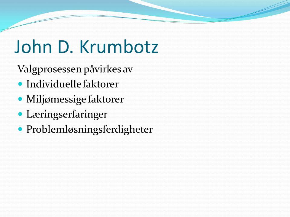 John D. Krumbotz Valgprosessen påvirkes av Individuelle faktorer