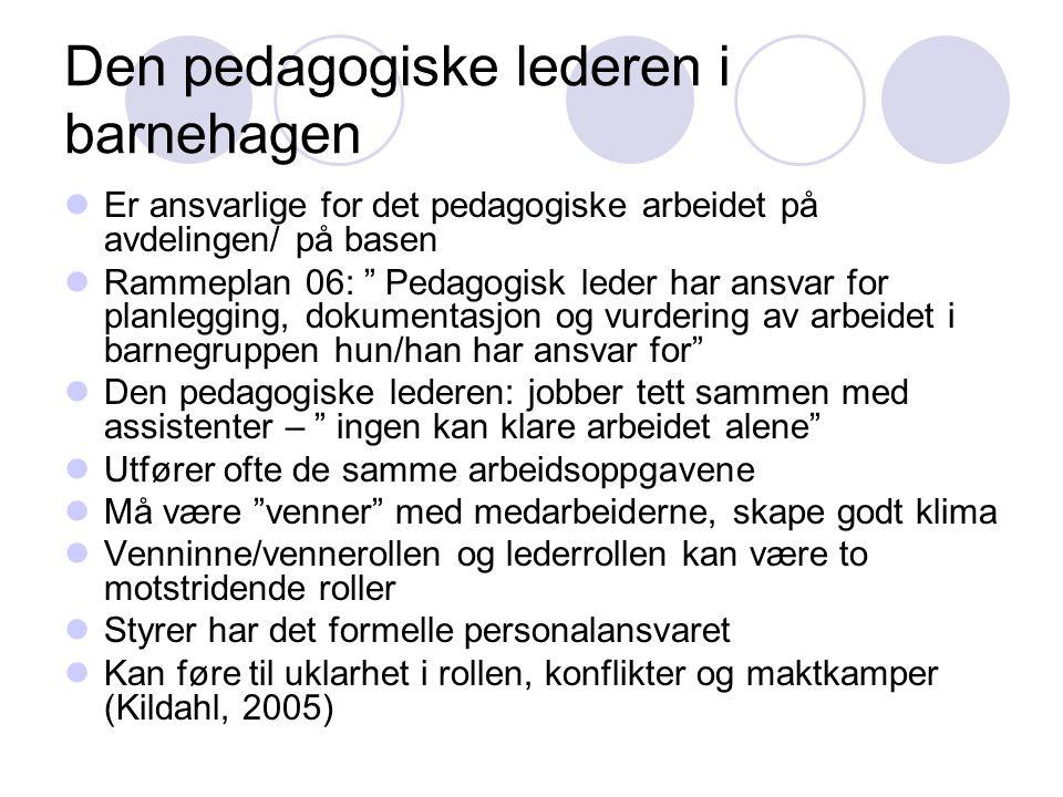 Den pedagogiske lederen i barnehagen