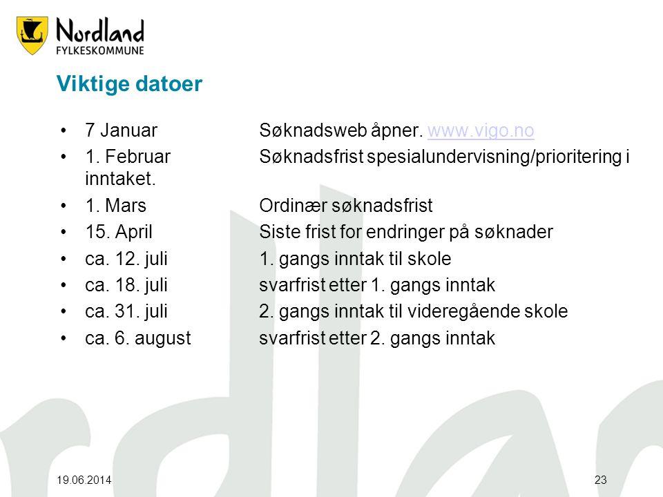 Viktige datoer 7 Januar Søknadsweb åpner. www.vigo.no