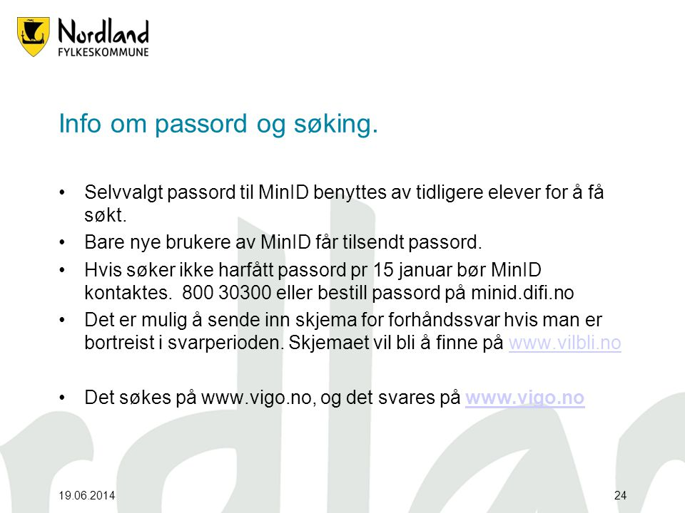 Info om passord og søking.