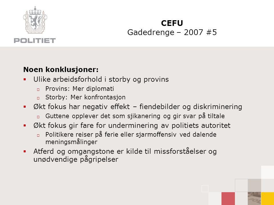 CEFU Gadedrenge – 2007 #5 Noen konklusjoner: