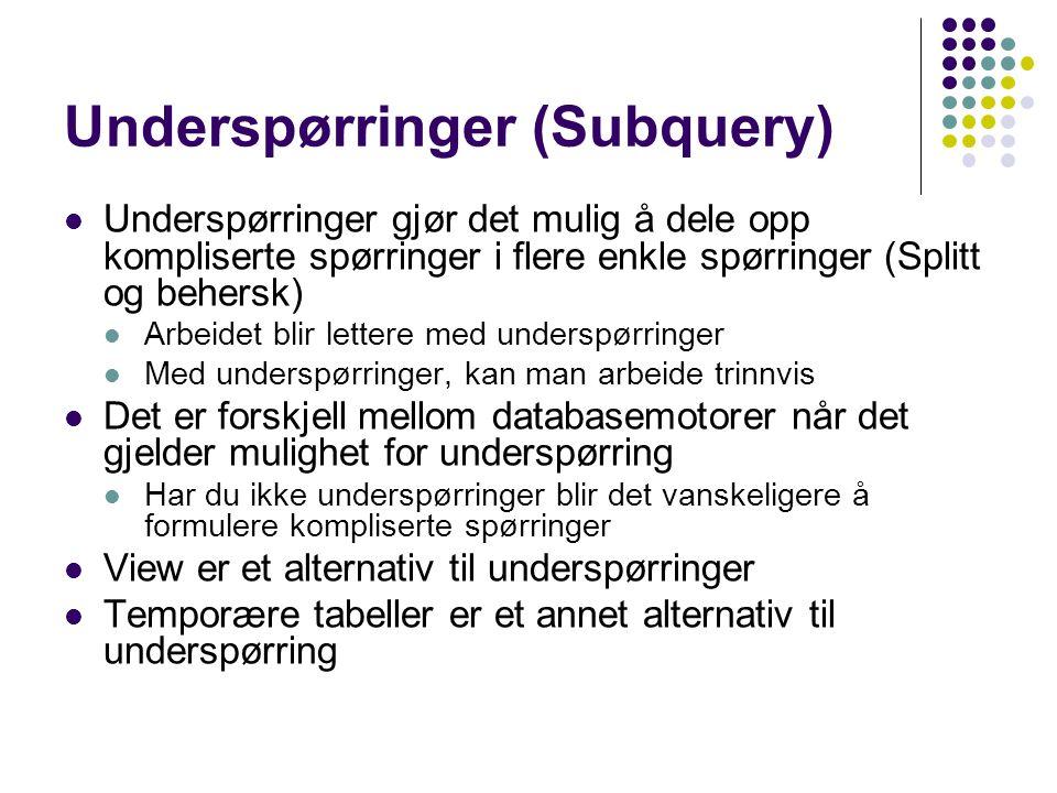 Underspørringer (Subquery)