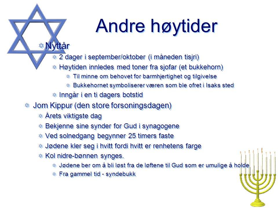 Andre høytider Nyttår Jom Kippur (den store forsoningsdagen)