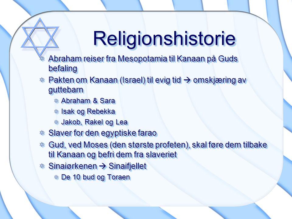 Religionshistorie Abraham reiser fra Mesopotamia til Kanaan på Guds befaling. Pakten om Kanaan (Israel) til evig tid  omskjæring av guttebarn.