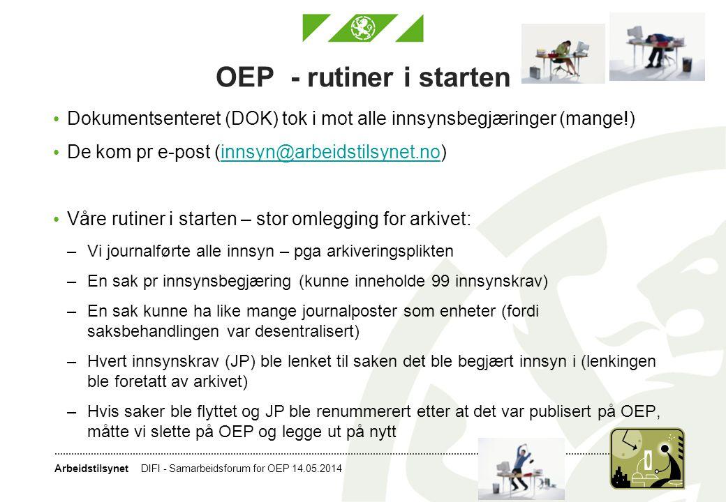 OEP - rutiner i starten Dokumentsenteret (DOK) tok i mot alle innsynsbegjæringer (mange!) De kom pr e-post (innsyn@arbeidstilsynet.no)