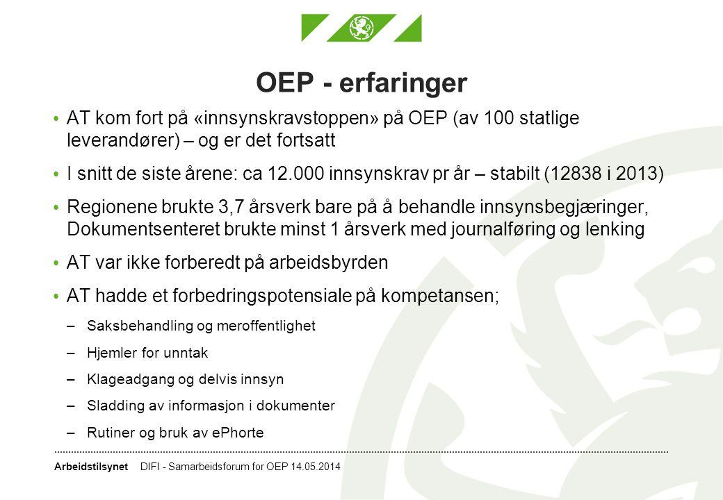 OEP - erfaringer AT kom fort på «innsynskravstoppen» på OEP (av 100 statlige leverandører) – og er det fortsatt.