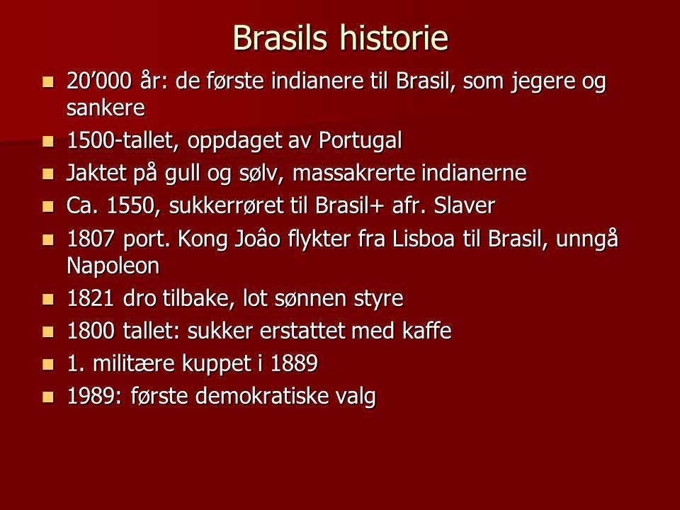 Brasils historie 20'000 år: de første indianere til Brasil, som jegere og sankere. 1500-tallet, oppdaget av Portugal.