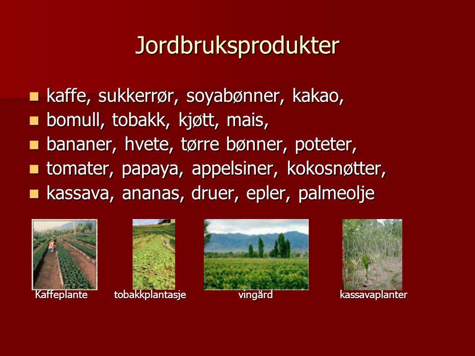 Jordbruksprodukter kaffe, sukkerrør, soyabønner, kakao,