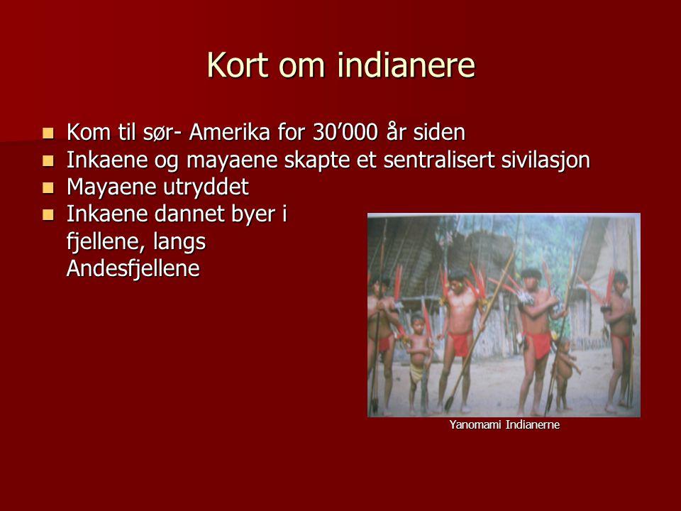 Kort om indianere Kom til sør- Amerika for 30'000 år siden