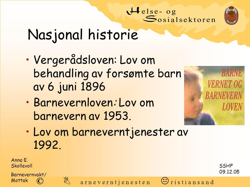 Nasjonal historie Vergerådsloven: Lov om behandling av forsømte barn av 6 juni 1896. Barnevernloven: Lov om barnevern av 1953.