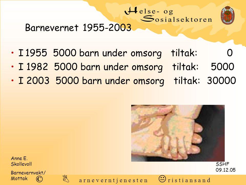 Barnevernet 1955-2003 I 1955 5000 barn under omsorg tiltak: 0. I 1982 5000 barn under omsorg tiltak: 5000.