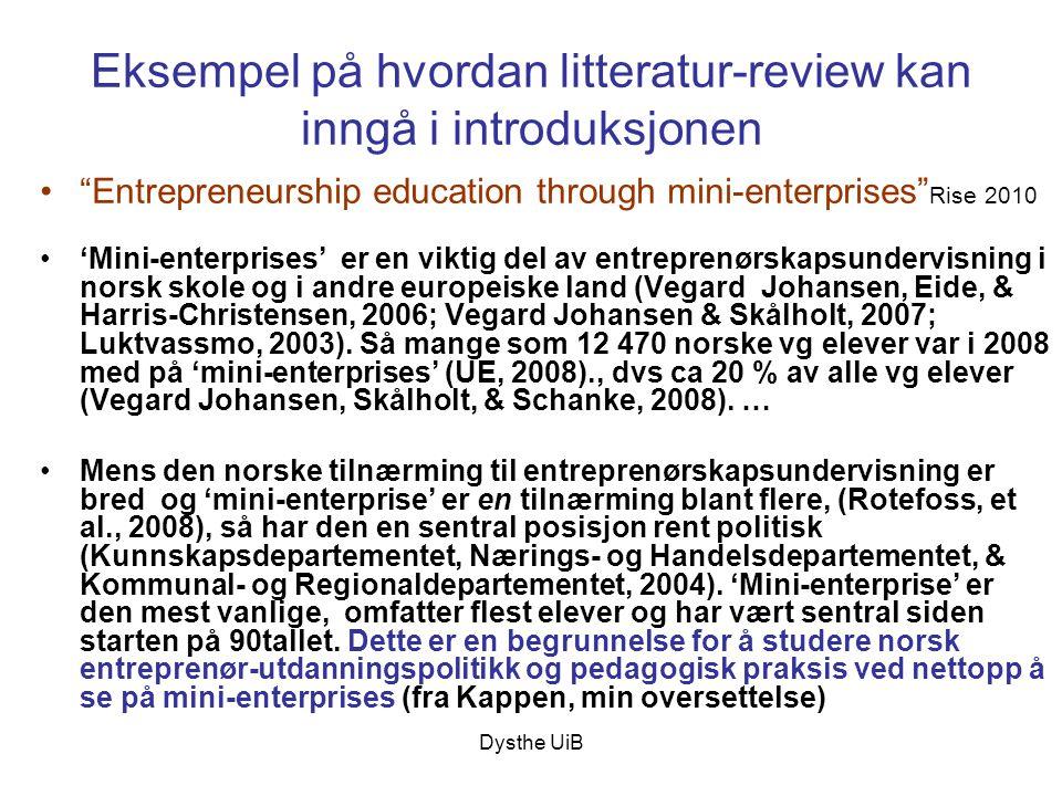 Eksempel på hvordan litteratur-review kan inngå i introduksjonen