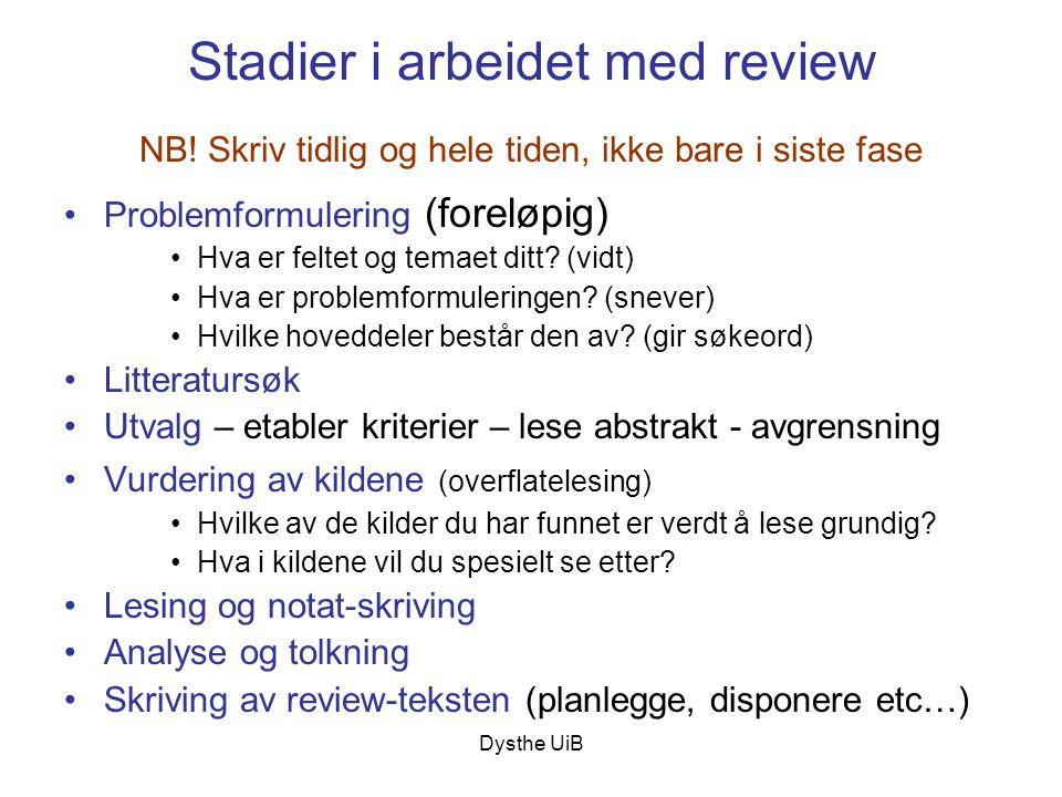 Stadier i arbeidet med review NB