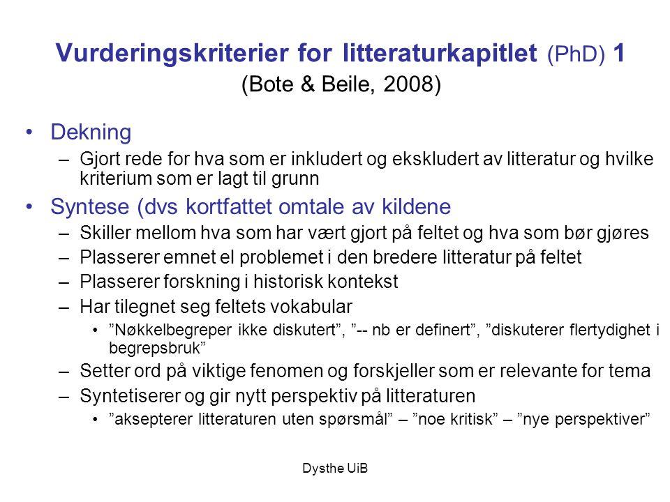Vurderingskriterier for litteraturkapitlet (PhD) 1 (Bote & Beile, 2008)