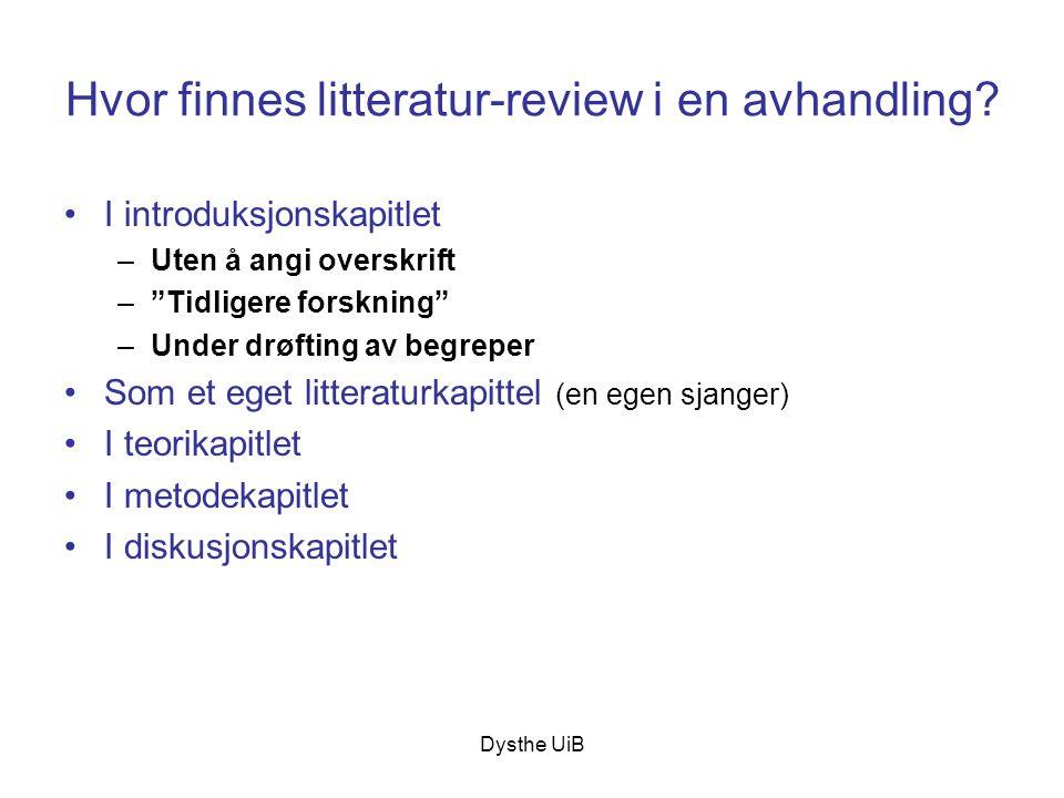 Hvor finnes litteratur-review i en avhandling
