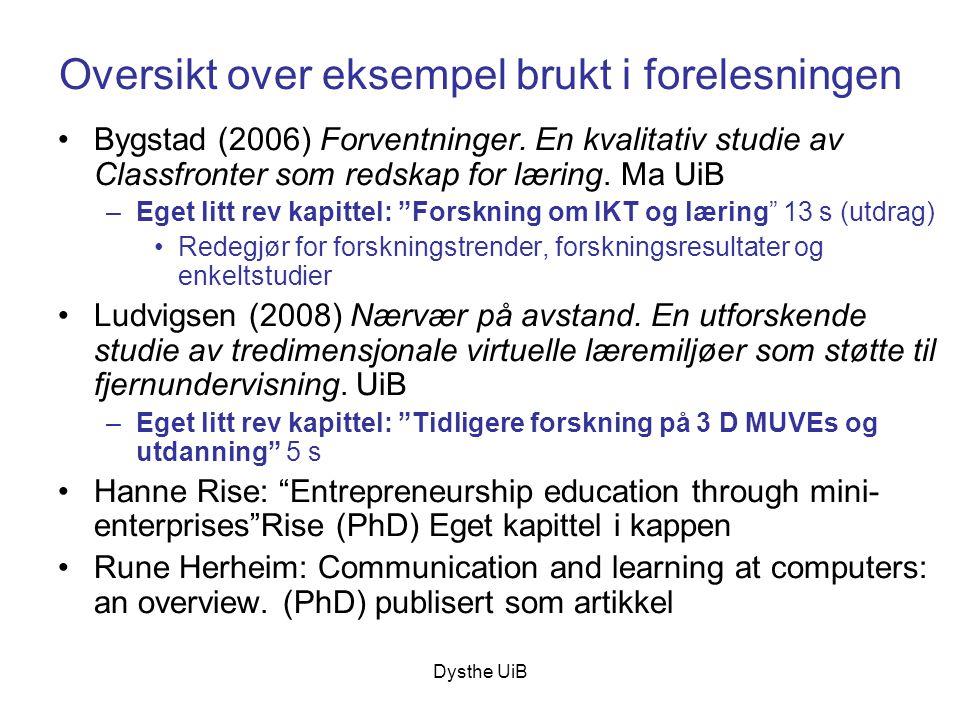 Oversikt over eksempel brukt i forelesningen