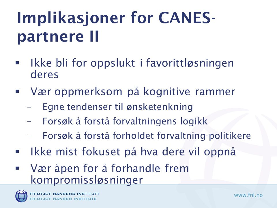 Implikasjoner for CANES-partnere II