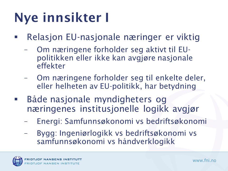 Nye innsikter I Relasjon EU-nasjonale næringer er viktig