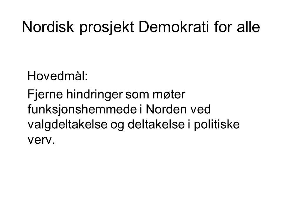 Nordisk prosjekt Demokrati for alle