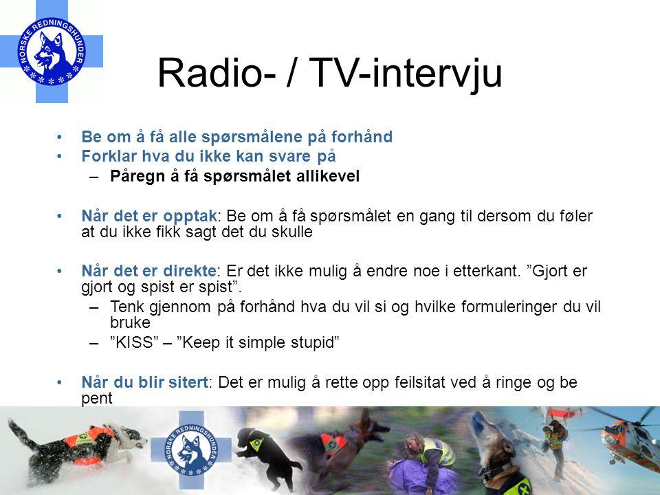 Radio- / TV-intervju Be om å få alle spørsmålene på forhånd