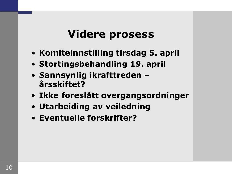 Videre prosess Komiteinnstilling tirsdag 5. april