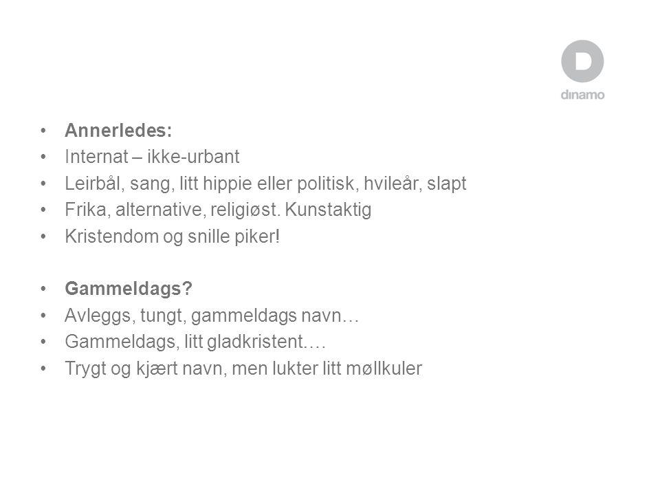 Annerledes: Internat – ikke-urbant. Leirbål, sang, litt hippie eller politisk, hvileår, slapt. Frika, alternative, religiøst. Kunstaktig.