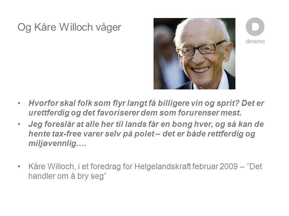 Og Kåre Willoch våger Hvorfor skal folk som flyr langt få billigere vin og sprit Det er urettferdig og det favoriserer dem som forurenser mest.
