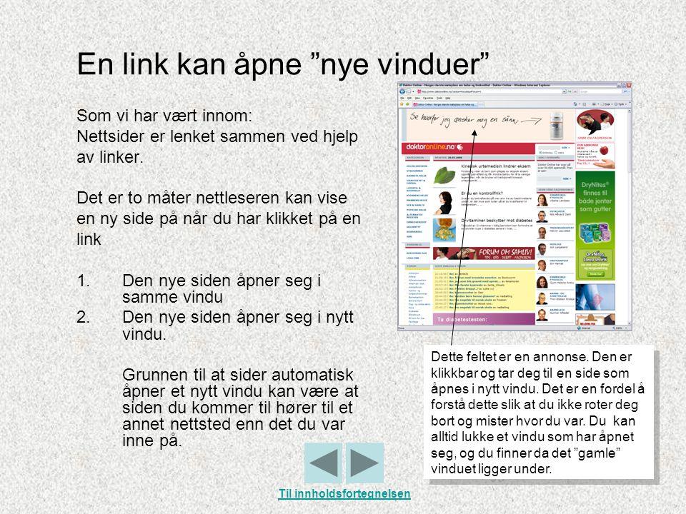 En link kan åpne nye vinduer