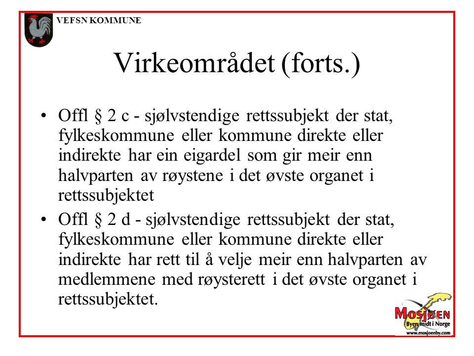 VEFSN KOMMUNE Virkeområdet (forts.)