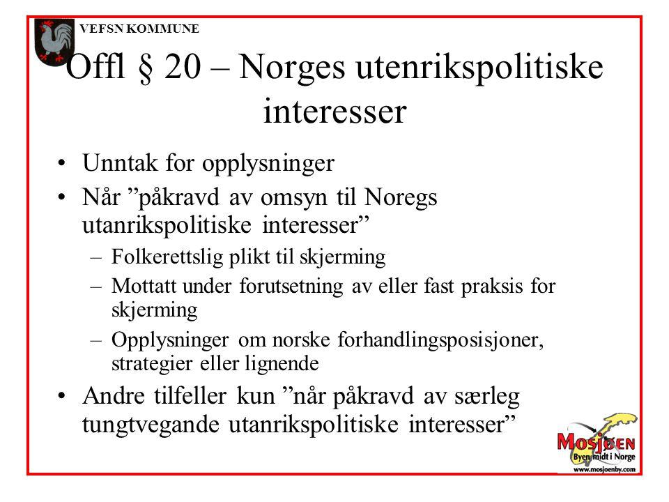 Offl § 20 – Norges utenrikspolitiske interesser